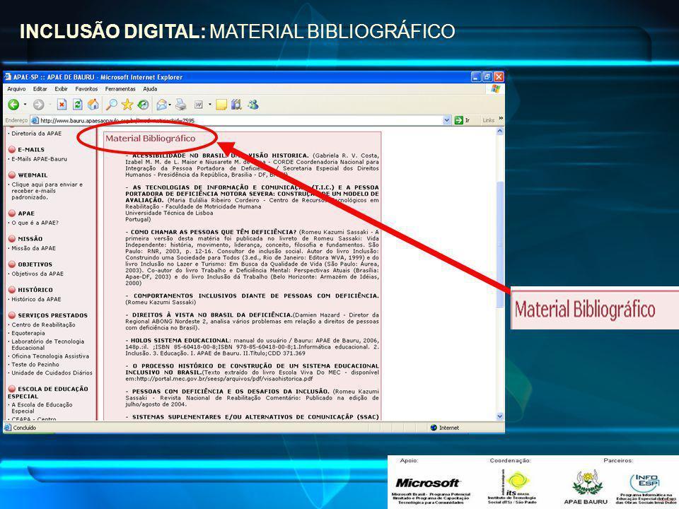 INCLUSÃO DIGITAL: MATERIAL BIBLIOGRÁFICO