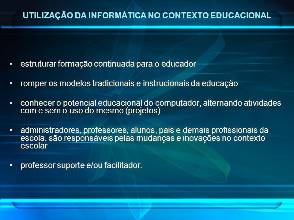 UTILIZAÇÃO DA INFORMÁTICA NO CONTEXTO EDUCACIONAL