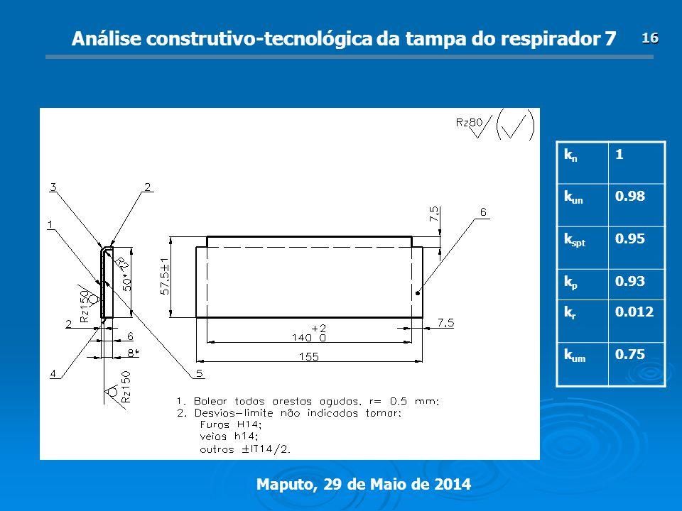 Análise construtivo-tecnológica da tampa do respirador 7