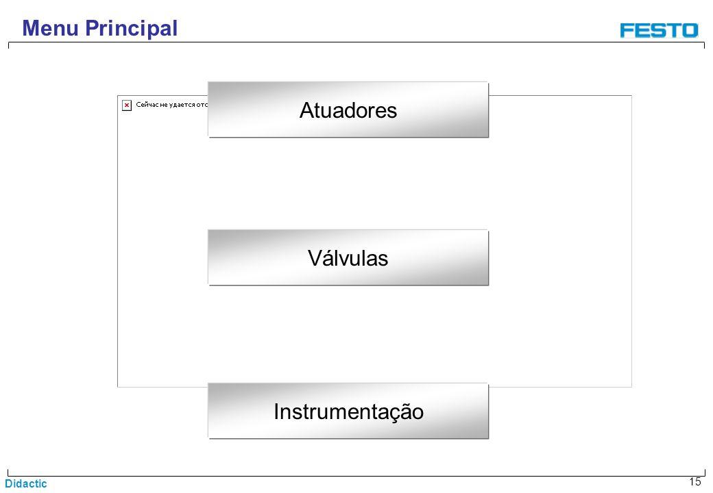 Menu Principal Atuadores Válvulas Instrumentação