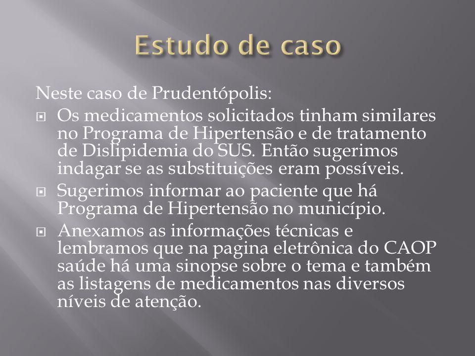 Estudo de caso Neste caso de Prudentópolis: