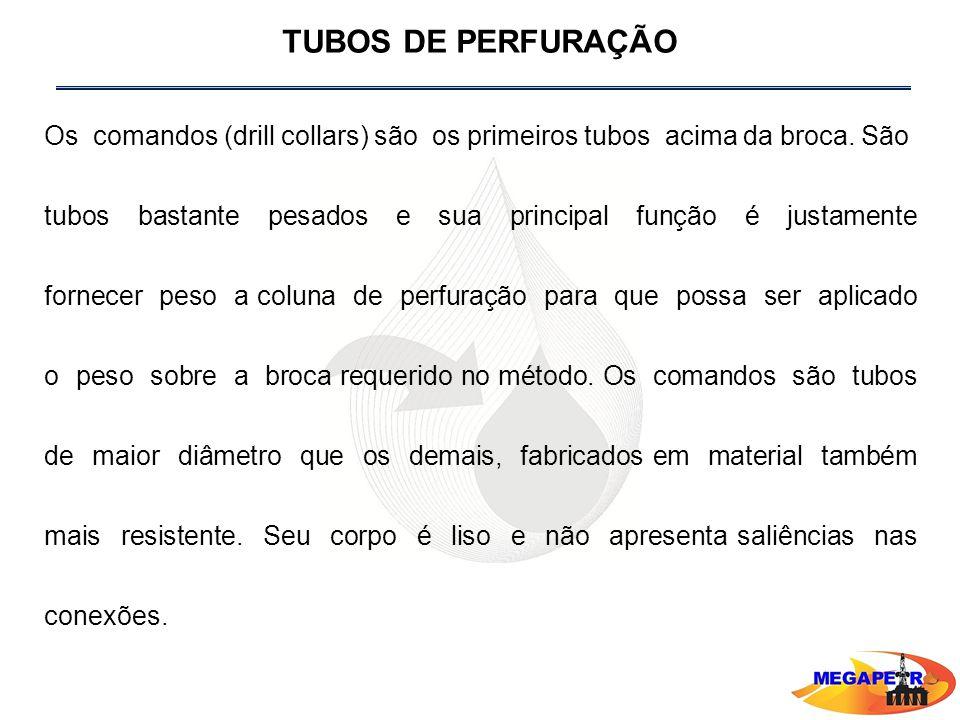 TUBOS DE PERFURAÇÃO Os comandos (drill collars) são os primeiros tubos acima da broca. São.
