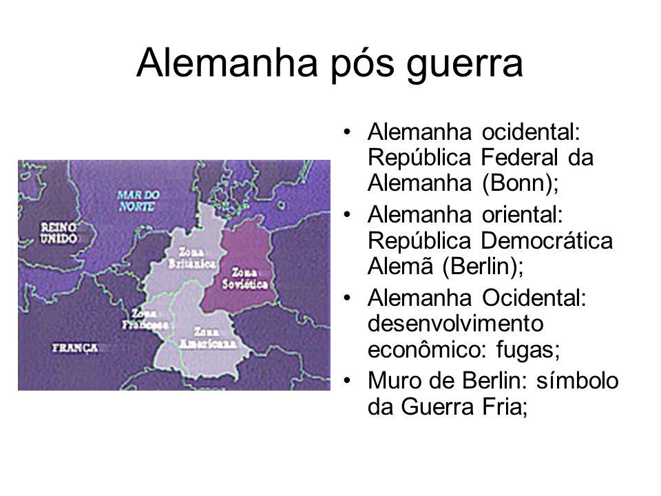 Alemanha pós guerra Alemanha ocidental: República Federal da Alemanha (Bonn); Alemanha oriental: República Democrática Alemã (Berlin);
