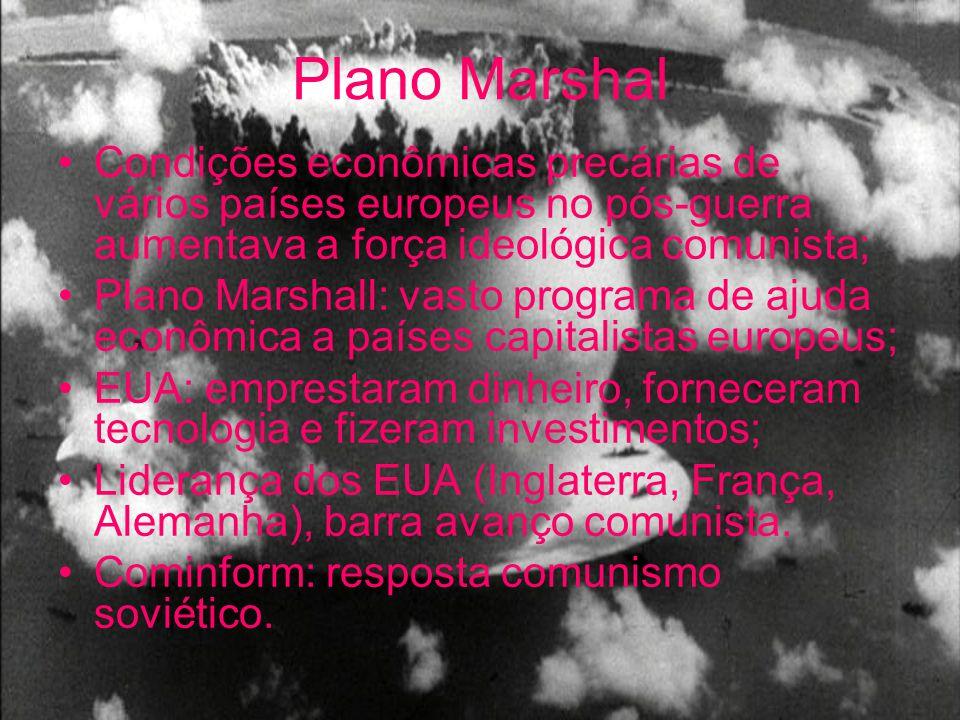 Plano Marshal Condições econômicas precárias de vários países europeus no pós-guerra aumentava a força ideológica comunista;