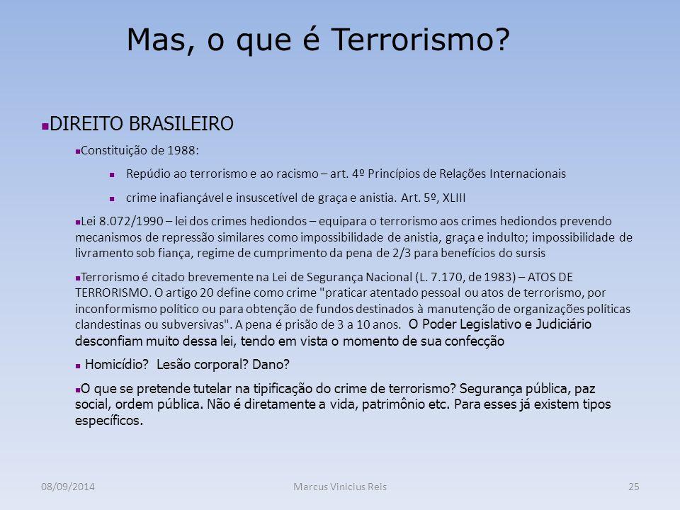 Mas, o que é Terrorismo DIREITO BRASILEIRO Constituição de 1988: