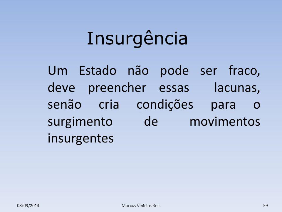 Insurgência Um Estado não pode ser fraco, deve preencher essas lacunas, senão cria condições para o surgimento de movimentos insurgentes.