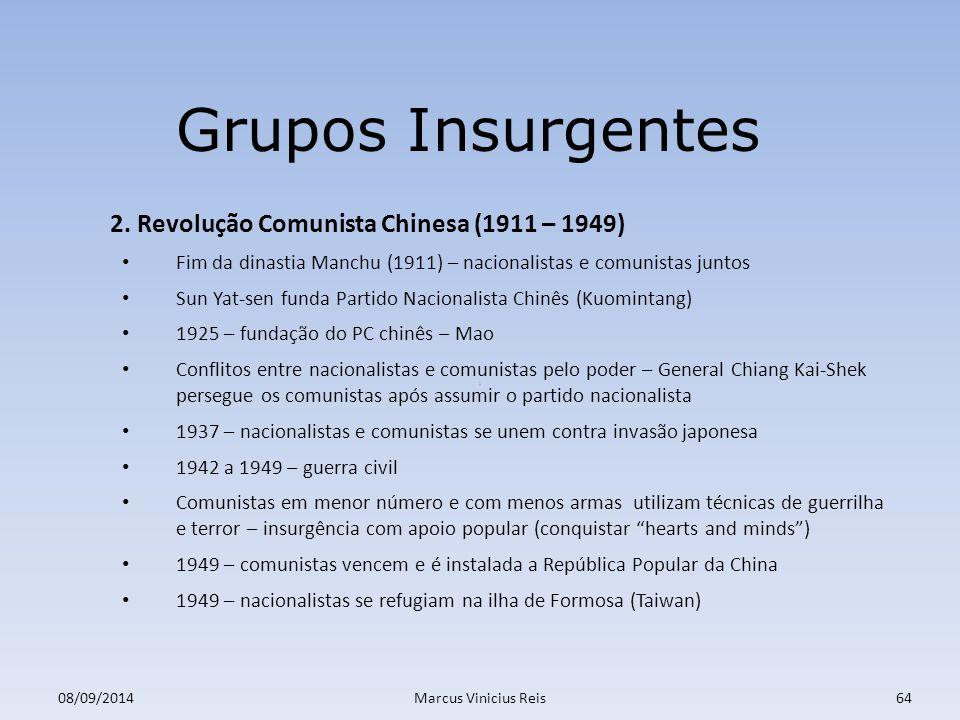 Grupos Insurgentes 2. Revolução Comunista Chinesa (1911 – 1949)
