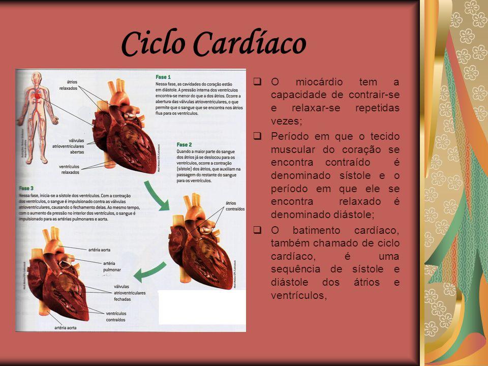 Ciclo Cardíaco O miocárdio tem a capacidade de contrair-se e relaxar-se repetidas vezes;