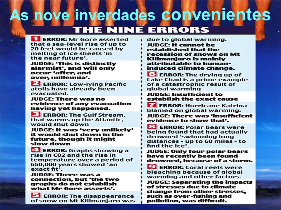 As nove inverdades convenientes