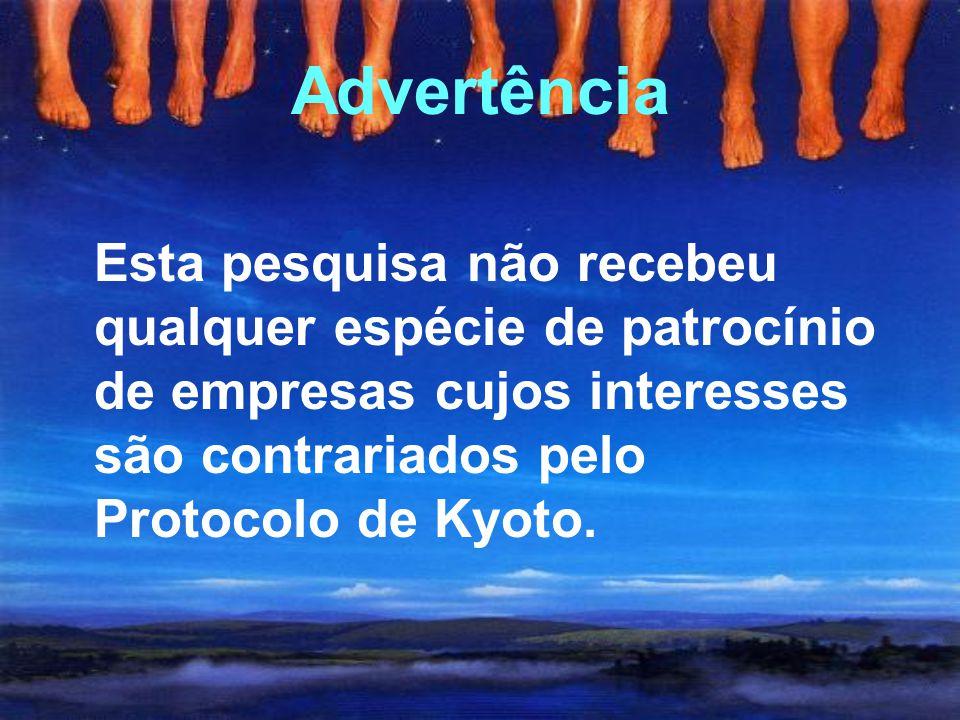 Advertência Esta pesquisa não recebeu qualquer espécie de patrocínio de empresas cujos interesses são contrariados pelo Protocolo de Kyoto.
