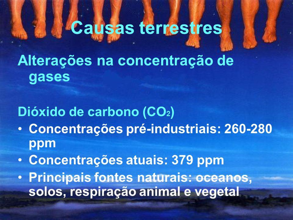 Causas terrestres Alterações na concentração de gases