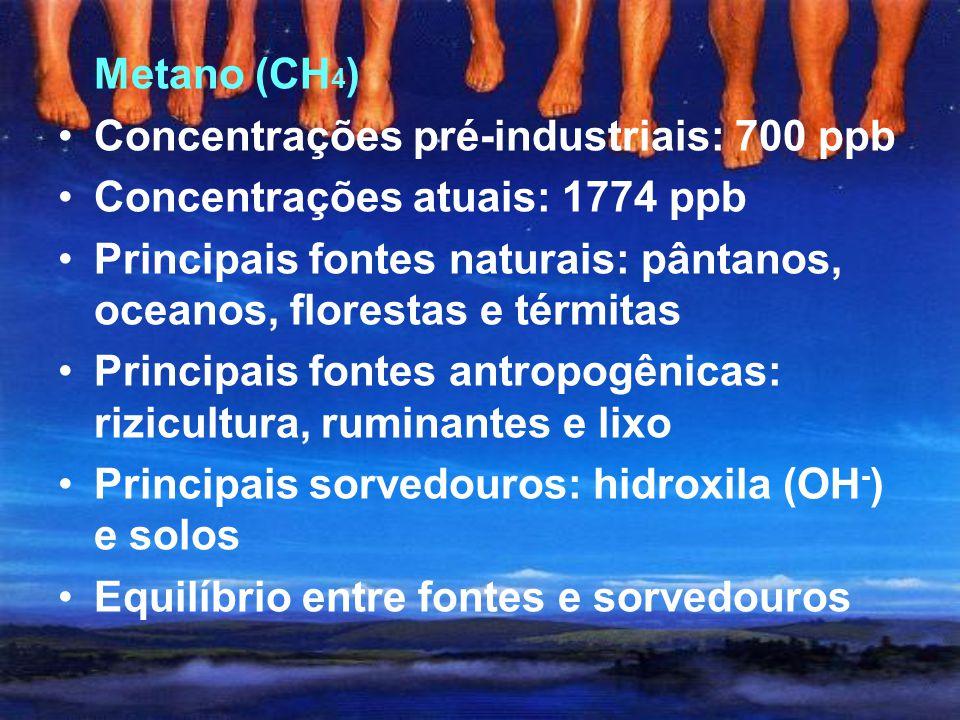 Metano (CH4) Concentrações pré-industriais: 700 ppb. Concentrações atuais: 1774 ppb.