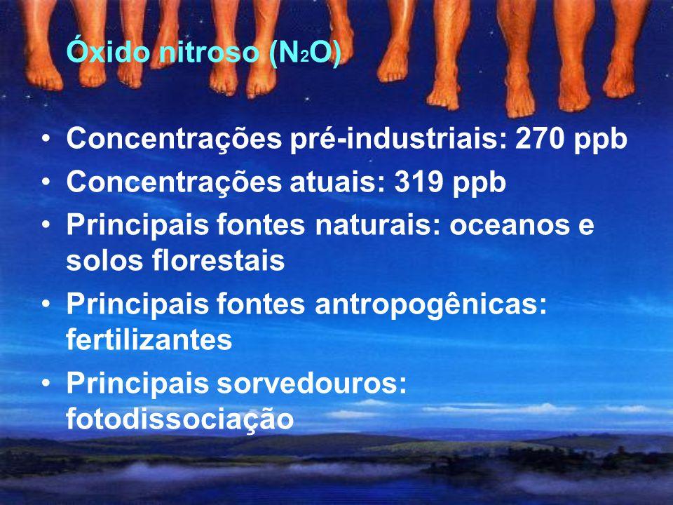 Óxido nitroso (N2O) Concentrações pré-industriais: 270 ppb. Concentrações atuais: 319 ppb. Principais fontes naturais: oceanos e solos florestais.