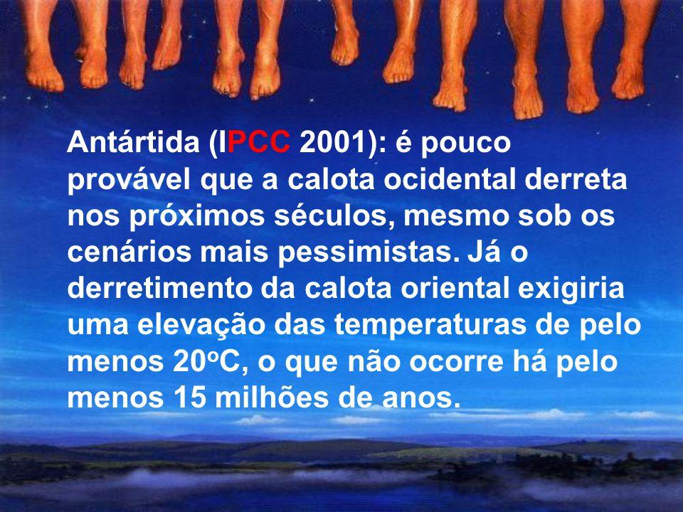 Antártida (IPCC 2001): é pouco provável que a calota ocidental derreta nos próximos séculos, mesmo sob os cenários mais pessimistas.