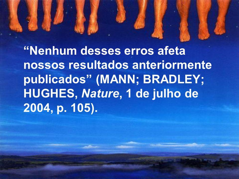Nenhum desses erros afeta nossos resultados anteriormente publicados (MANN; BRADLEY; HUGHES, Nature, 1 de julho de 2004, p.