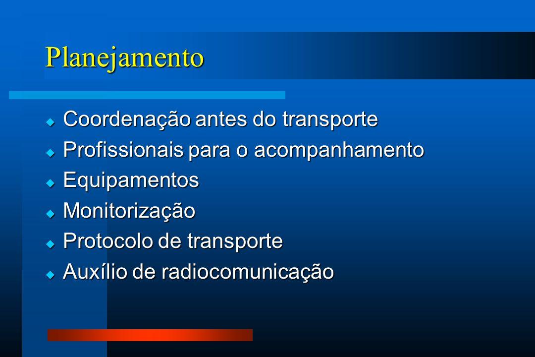 Planejamento Coordenação antes do transporte