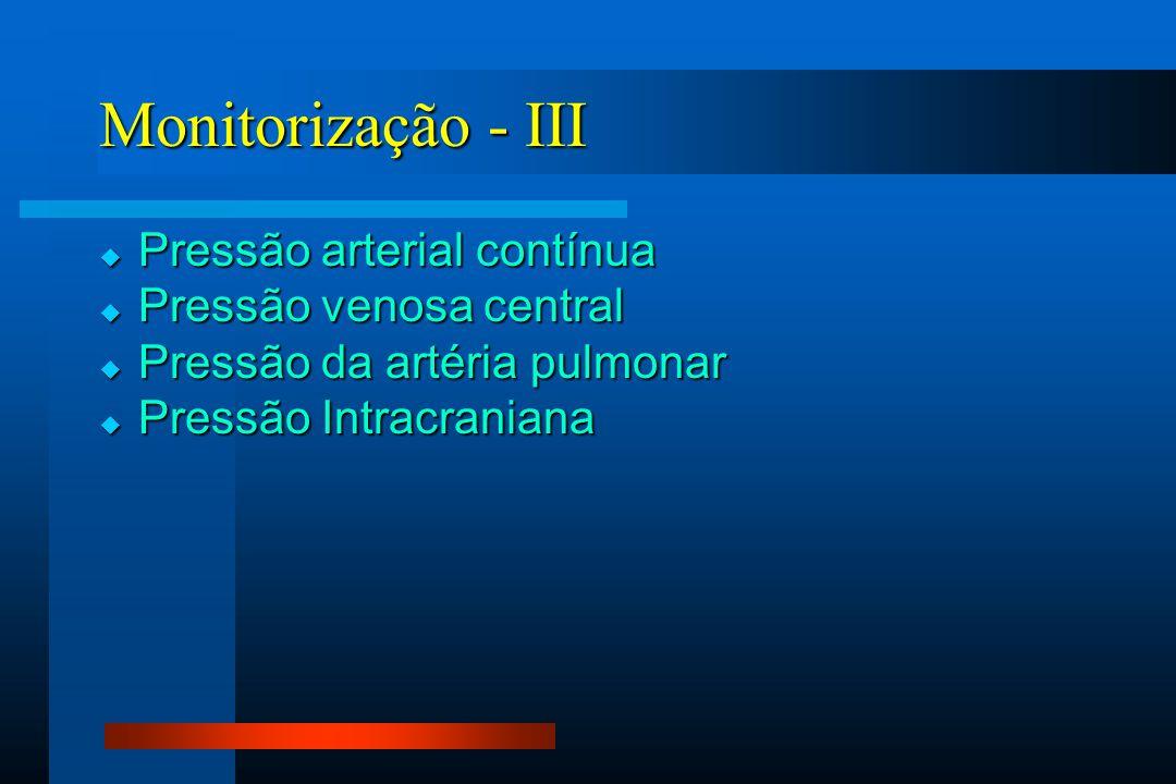 Monitorização - III Pressão arterial contínua Pressão venosa central