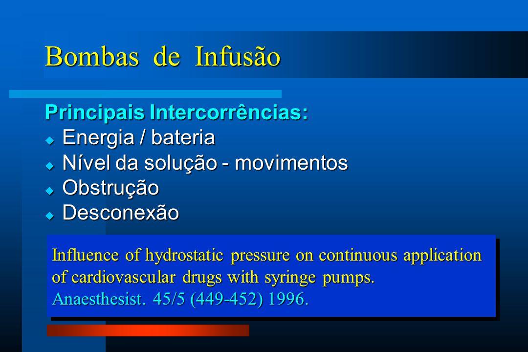 Bombas de Infusão Principais Intercorrências: Energia / bateria