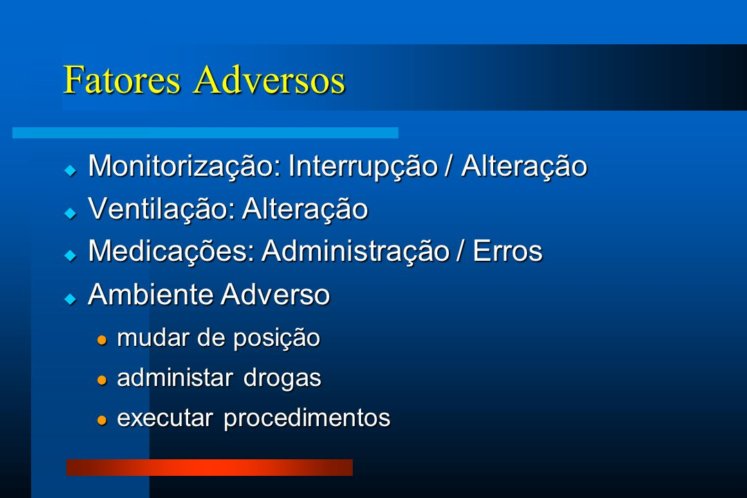 Fatores Adversos Monitorização: Interrupção / Alteração