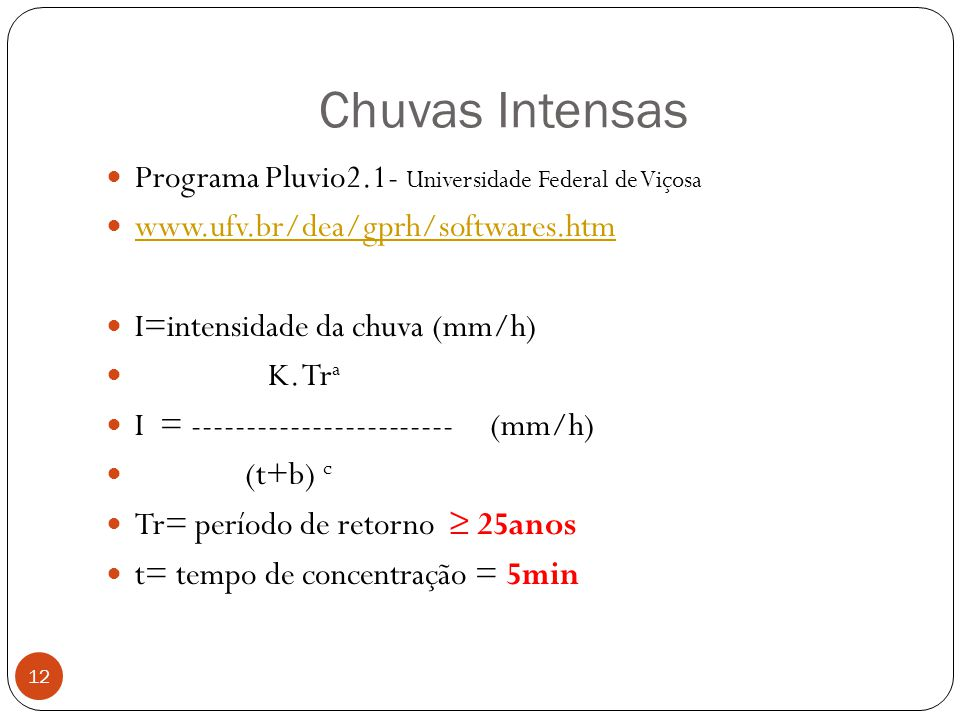 Chuvas Intensas Programa Pluvio2.1- Universidade Federal de Viçosa