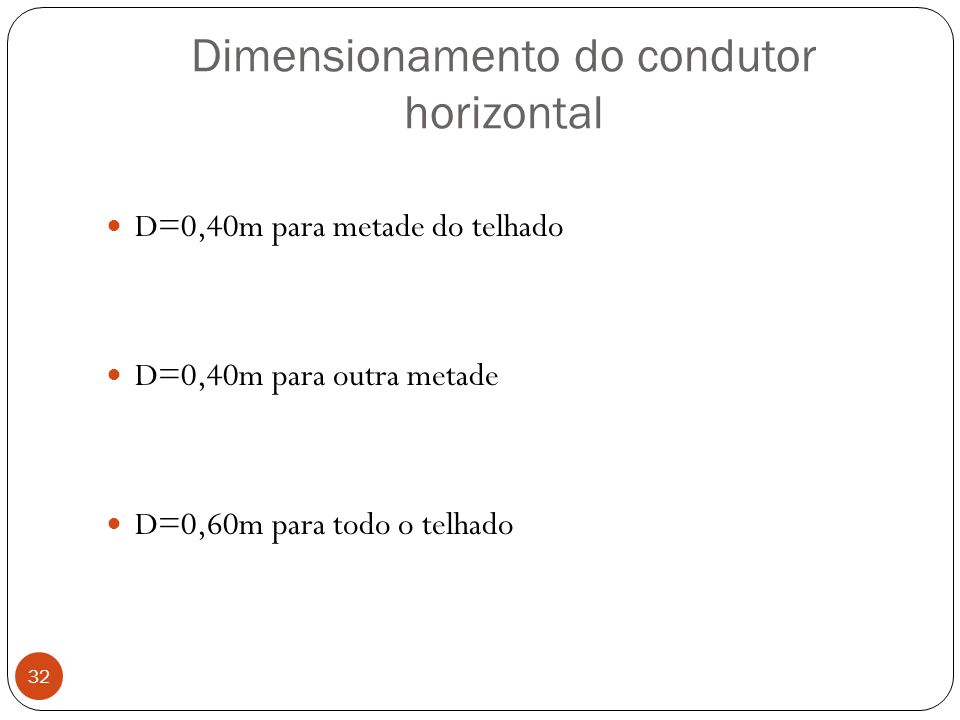 Dimensionamento do condutor horizontal