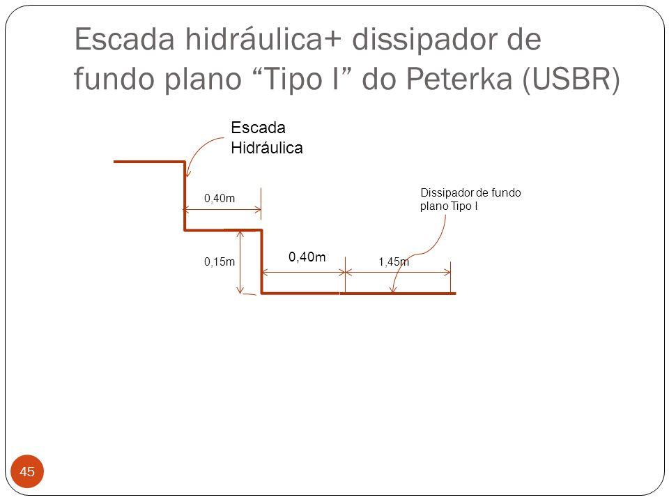 Escada hidráulica+ dissipador de fundo plano Tipo I do Peterka (USBR)