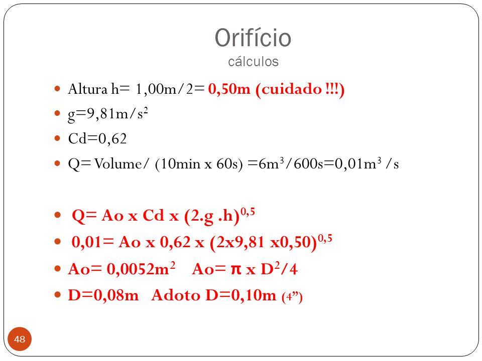 Orifício cálculos Q= Ao x Cd x (2.g .h)0,5