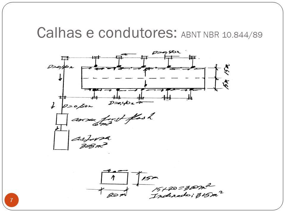 Calhas e condutores: ABNT NBR 10.844/89