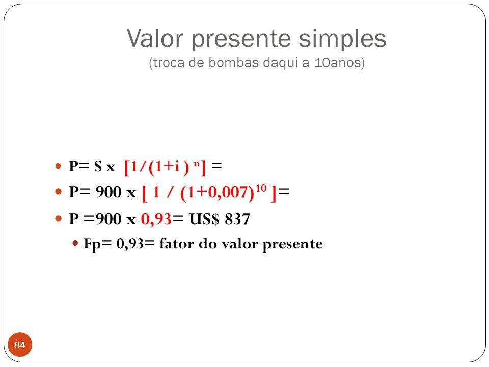Valor presente simples (troca de bombas daqui a 10anos)