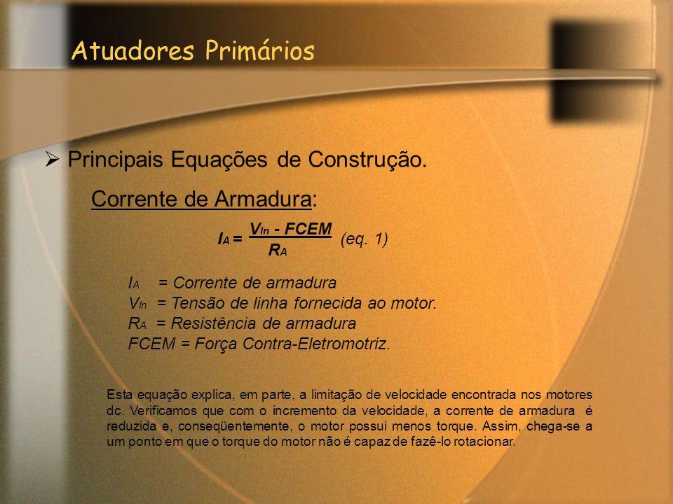 Atuadores Primários Principais Equações de Construção.