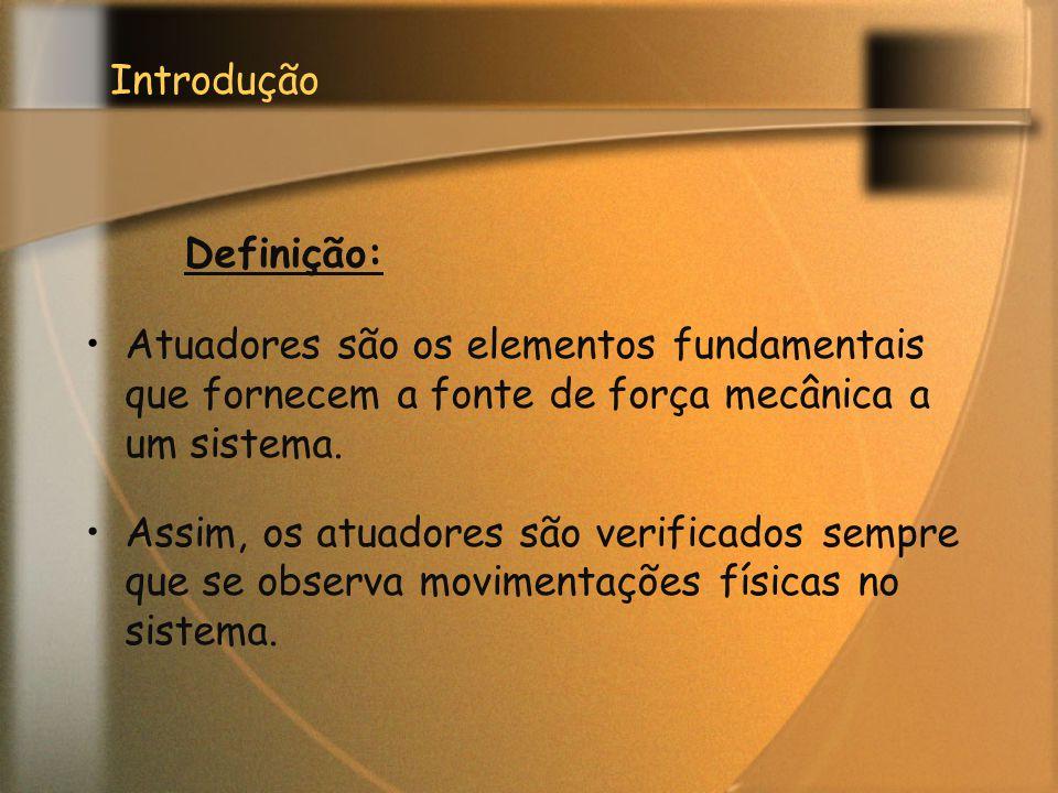 Introdução Definição: Atuadores são os elementos fundamentais que fornecem a fonte de força mecânica a um sistema.