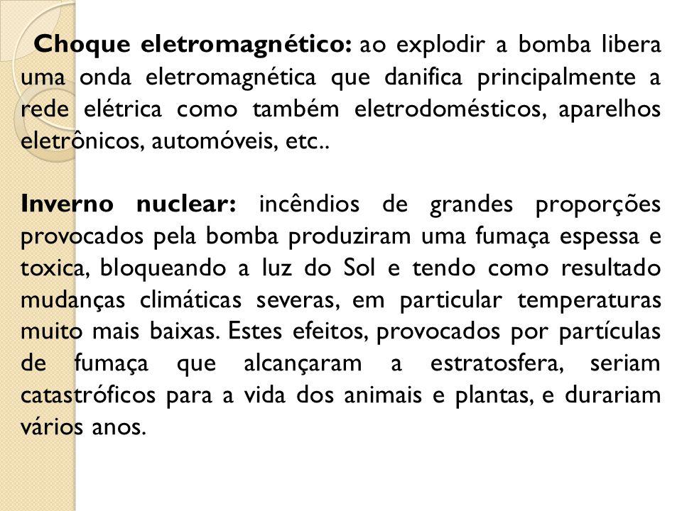 Choque eletromagnético: ao explodir a bomba libera uma onda eletromagnética que danifica principalmente a rede elétrica como também eletrodomésticos, aparelhos eletrônicos, automóveis, etc..