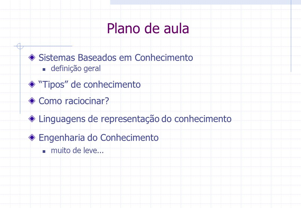 Plano de aula Sistemas Baseados em Conhecimento