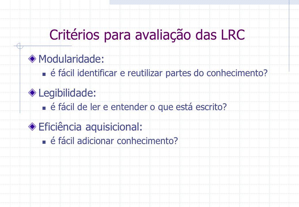 Critérios para avaliação das LRC