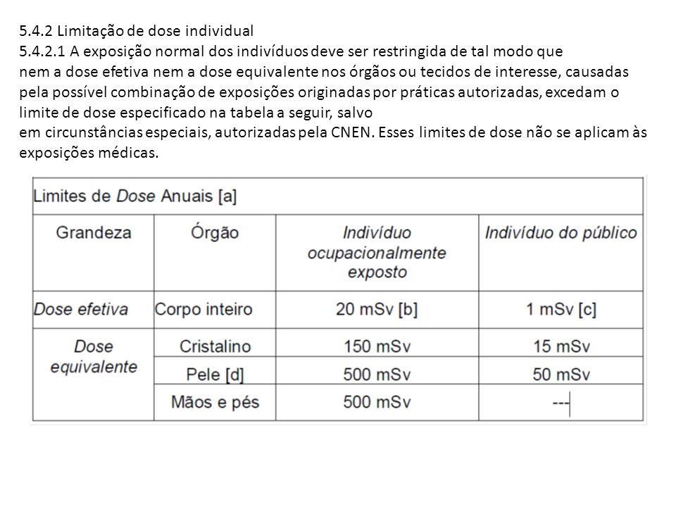 5.4.2 Limitação de dose individual