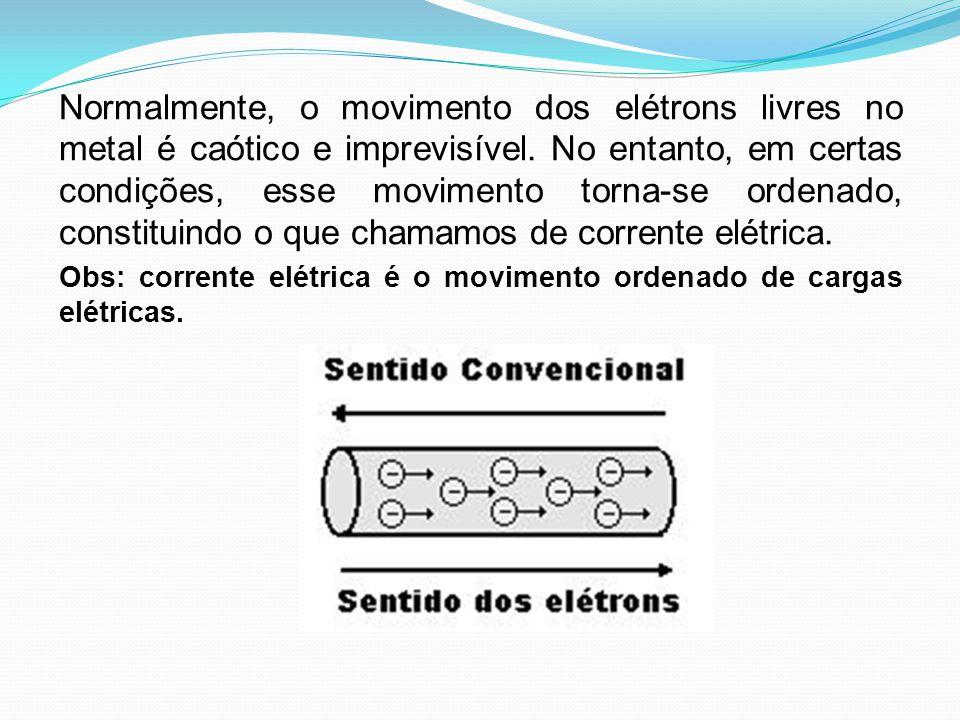 Normalmente, o movimento dos elétrons livres no metal é caótico e imprevisível. No entanto, em certas condições, esse movimento torna-se ordenado, constituindo o que chamamos de corrente elétrica.