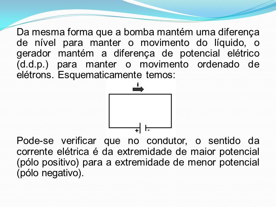 Da mesma forma que a bomba mantém uma diferença de nível para manter o movimento do líquido, o gerador mantém a diferença de potencial elétrico (d.d.p.) para manter o movimento ordenado de elétrons. Esquematicamente temos: