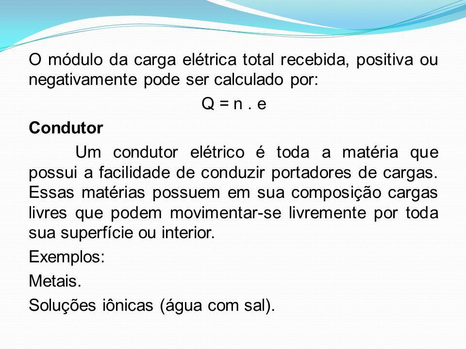 O módulo da carga elétrica total recebida, positiva ou negativamente pode ser calculado por: Q = n .