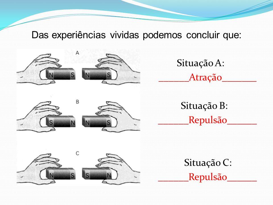 Das experiências vividas podemos concluir que: Situação A: ______Atração_______ Situação B: ______Repulsão______ Situação C: