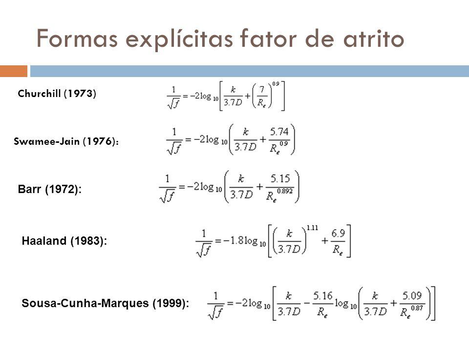 Formas explícitas fator de atrito