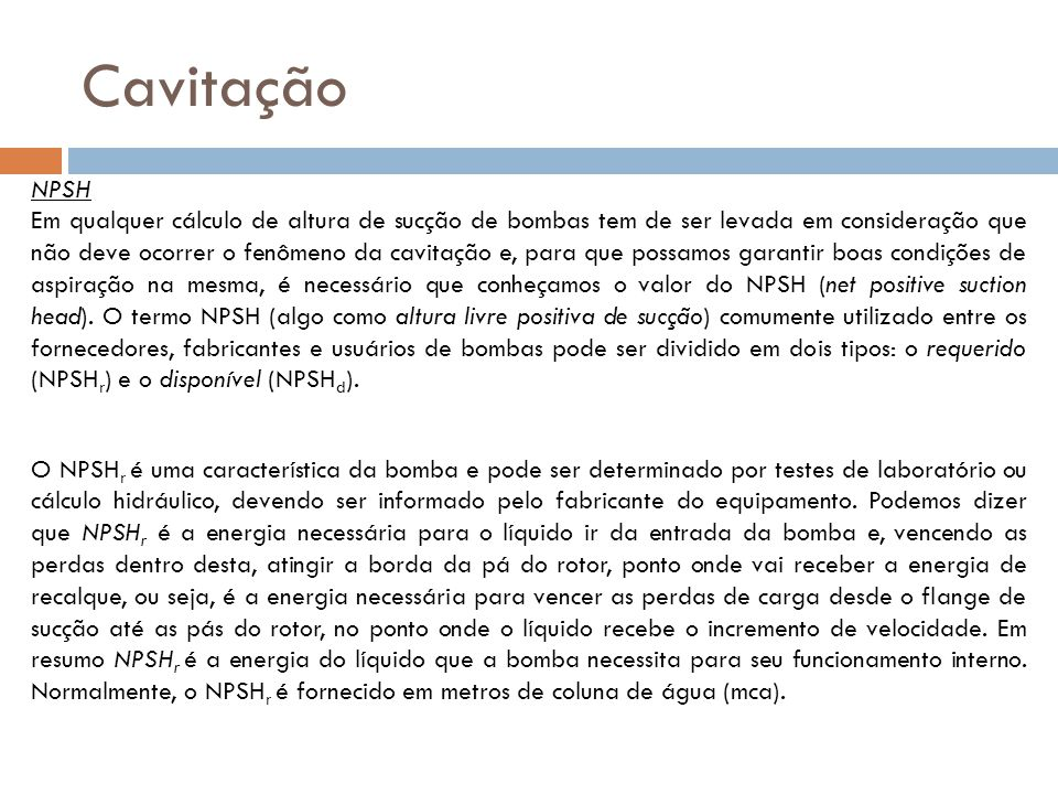 Cavitação NPSH.