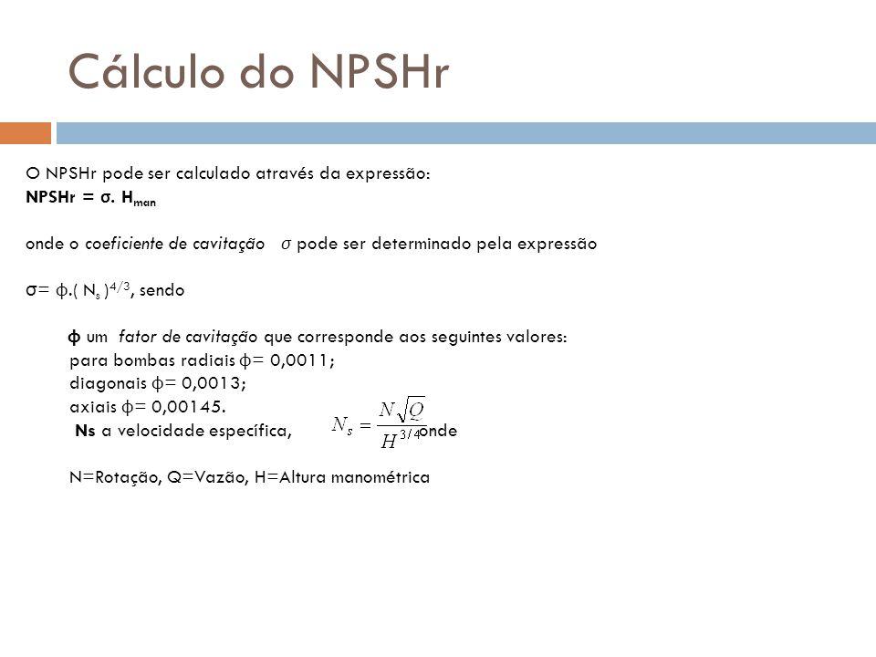 Cálculo do NPSHr O NPSHr pode ser calculado através da expressão:
