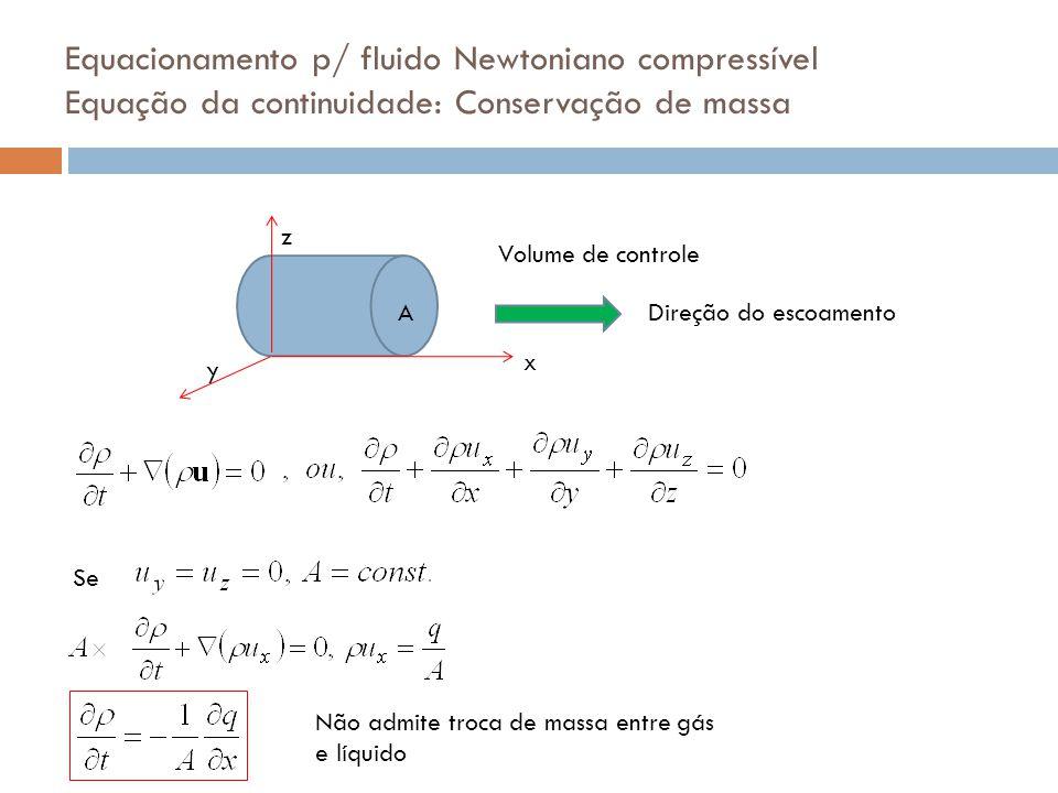 Equacionamento p/ fluido Newtoniano compressível Equação da continuidade: Conservação de massa