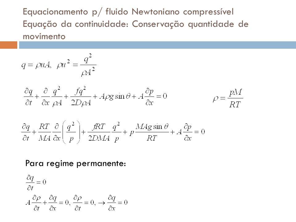 Equacionamento p/ fluido Newtoniano compressível Equação da continuidade: Conservação quantidade de movimento