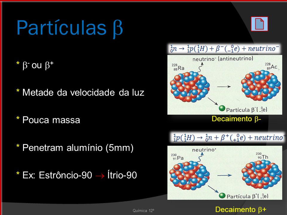Partículas  * - ou + * Metade da velocidade da luz * Pouca massa * Penetram alumínio (5mm) * Ex: Estrôncio-90  Ítrio-90