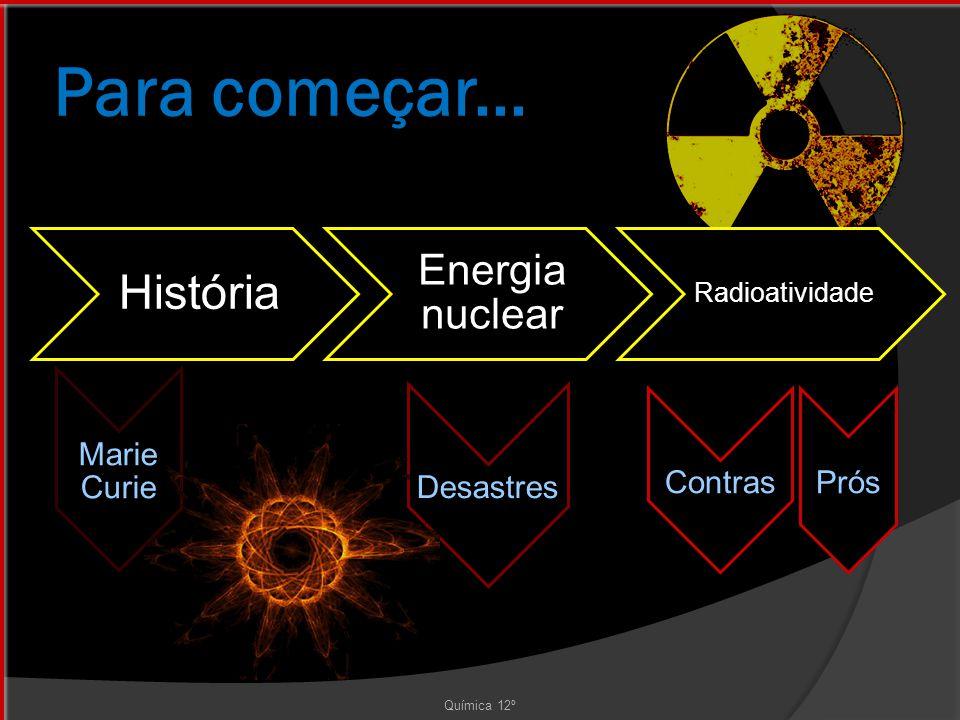 Para começar... História Energia nuclear Marie Curie Contras Prós