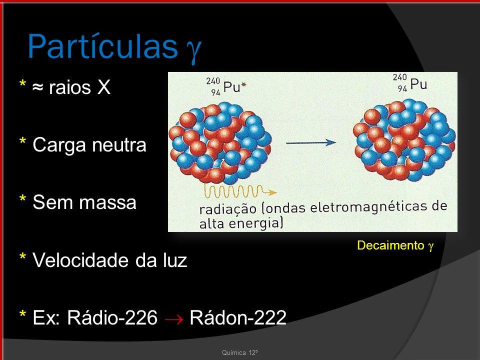 Partículas  * ≈ raios X * Carga neutra * Sem massa * Velocidade da luz * Ex: Rádio-226  Rádon-222