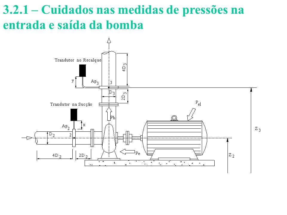 3.2.1 – Cuidados nas medidas de pressões na entrada e saída da bomba
