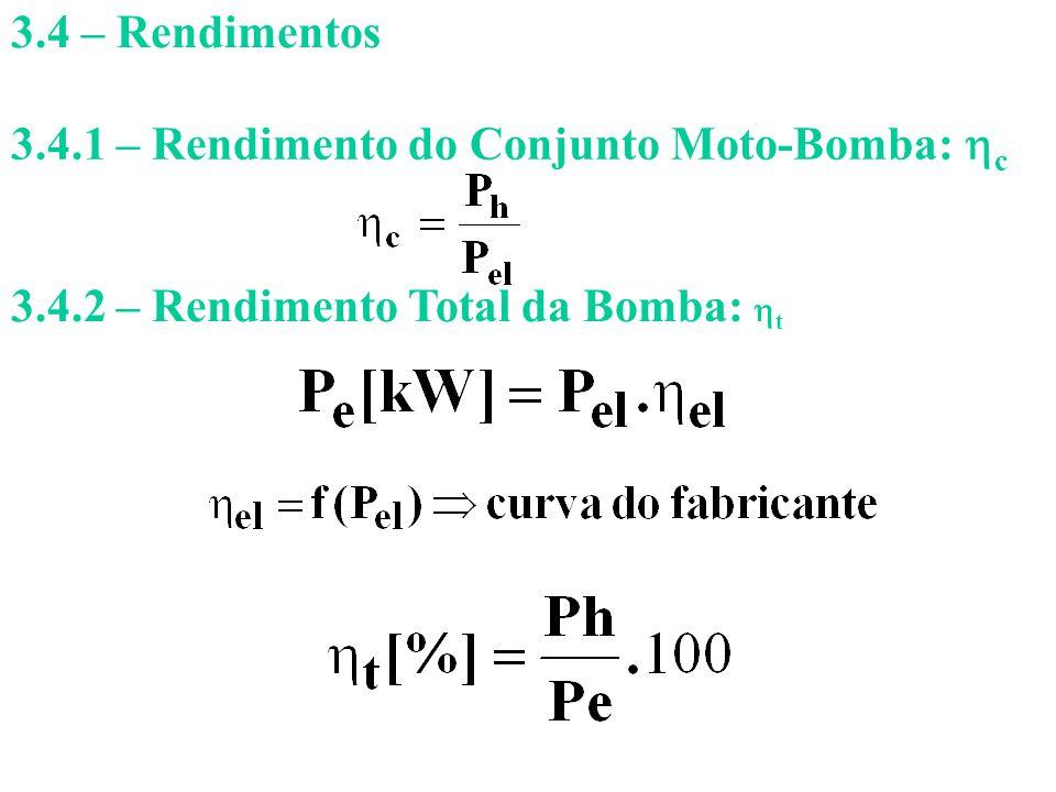 3.4 – Rendimentos 3.4.1 – Rendimento do Conjunto Moto-Bomba: c.