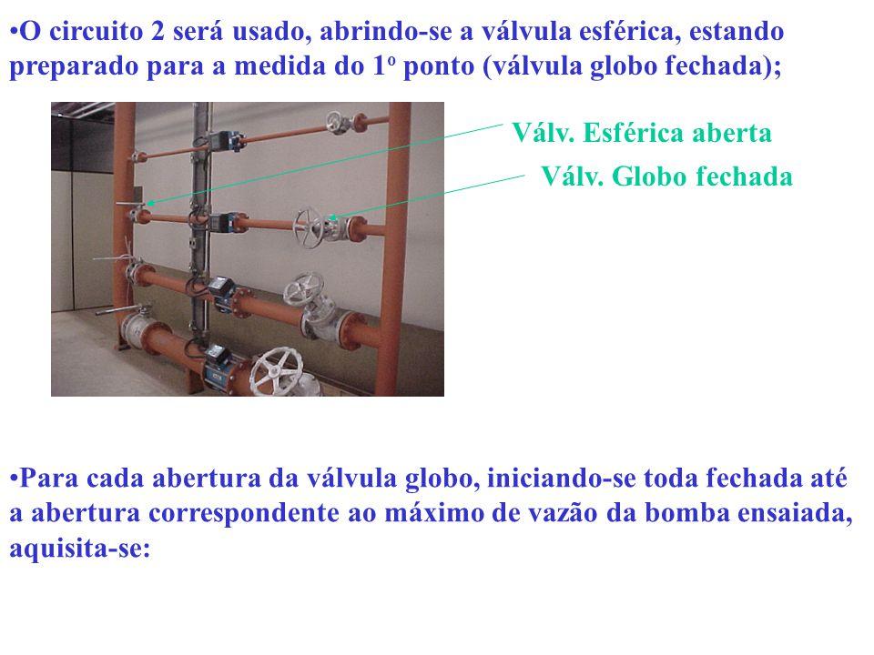 O circuito 2 será usado, abrindo-se a válvula esférica, estando preparado para a medida do 1o ponto (válvula globo fechada);